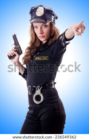 Female police isolated on the white - stock photo
