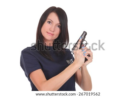 Female police isolated on the white background - stock photo