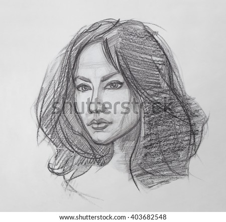 Pencil drawing the fine art portrait of the young woman female