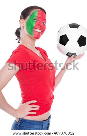 female portuguese painted soccer fan with ball is looking happy, isolated on white, sideview - stock photo