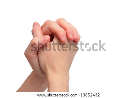 female praying hands isolated on white background as a christian concept