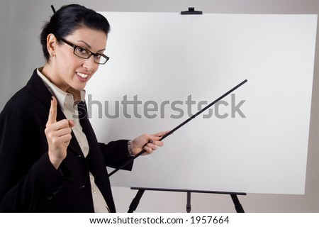 Female presenter with blank presentation whiteboard