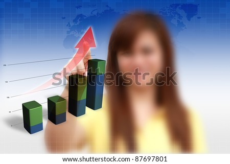 female pushing graph 3D on blue background.