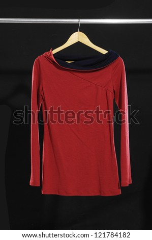 female red dress on hanging - stock photo