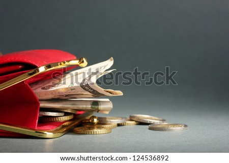 female red wallet with money on grey background - stock photo