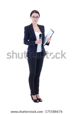 female reporter with microphone and clipboard isolated on white background