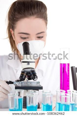 Female researcher in laboratory - stock photo