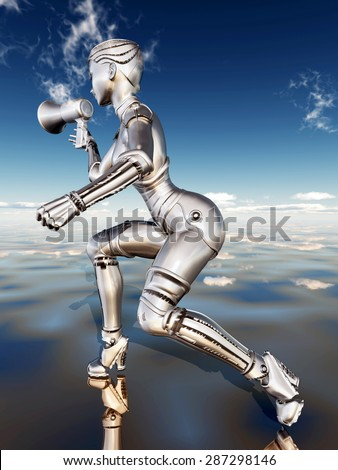 Female robot with megaphone Computer generated 3D illustration - stock photo