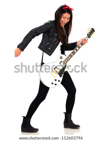 Female rocks star - isolated over a white background - stock photo