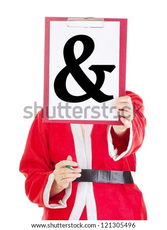 Female santa showing something on clipboard - stock photo