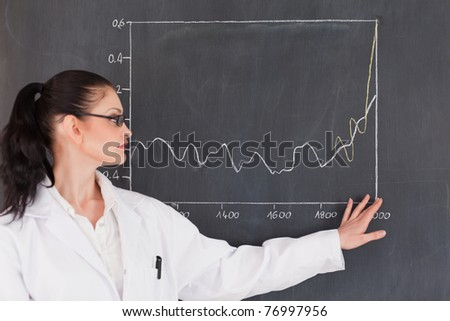 Female scientist showing charts on the blackboard in a laboratory (focus on hand and board) - stock photo