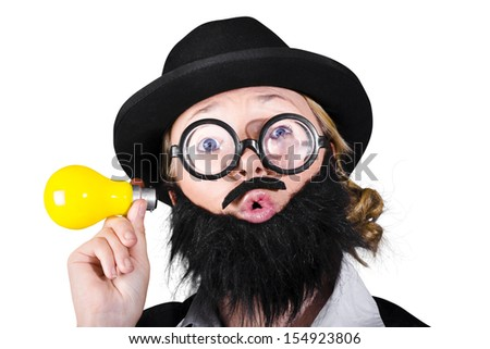 Female Scientist With Fake Beard And Mustache Holding Yellow Light Bulb - stock photo
