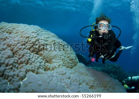 female scuba diver swims on amazing coral reef - stock photo