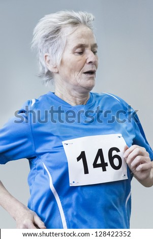 Female Senior race competition - stock photo