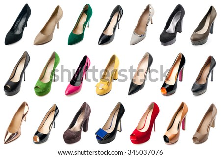 Female shoes collection on white background.Top view. - stock photo
