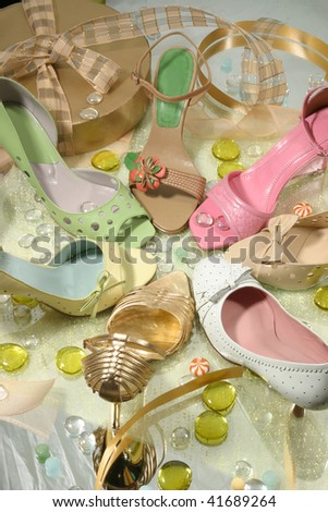 Female shoes in celebratory packing