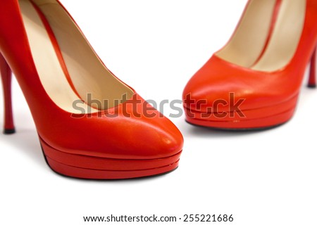 Female shoes on white background - stock photo
