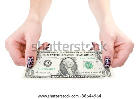 female showing one dollar bill. isolated over a white background - stock photo