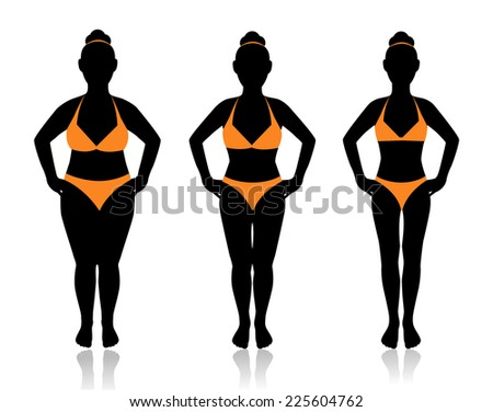 female silhouette in a bathing suit at a different weight and the effect of diet  - stock photo
