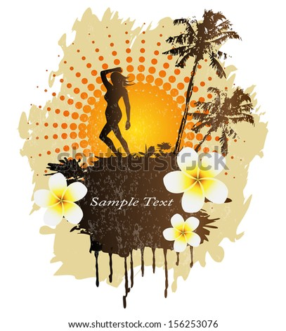 Female silhouette, palm trees, frangipani flowers and dust on background - stock photo