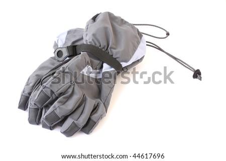 female ski gloves isolated on a white background - stock photo
