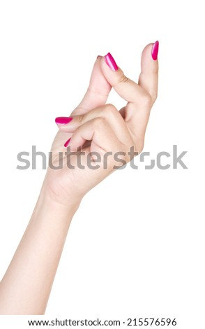 Female snapping hand isolated on white background