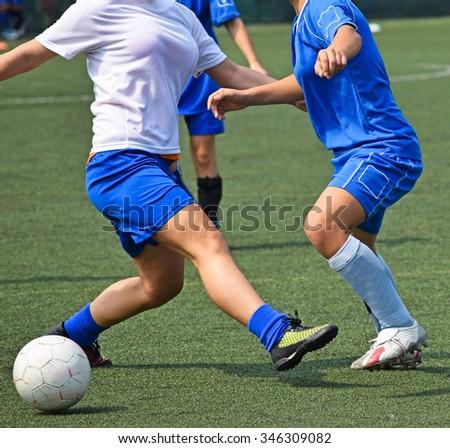 Female soccer match - stock photo
