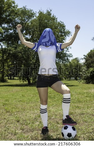 female soccer player - stock photo
