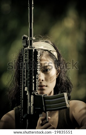 female soldier expression - stock photo