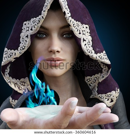 Female sorcerer with blue magic coming from her hand on a gradient black background.  - stock photo