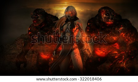 Female sorcerer with two troll beasts - stock photo