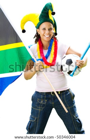 female south african soccer fans isolated on white