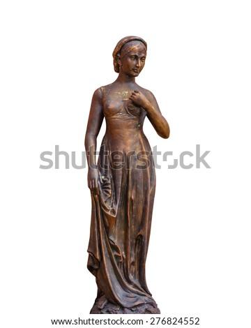 Female statue isolated on white. - stock photo