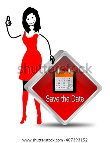 female stick figure with Save the Date Button - stock photo