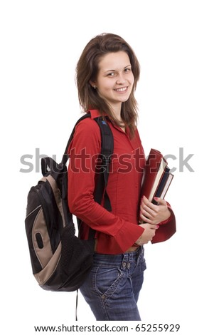 Female student isolated over a white background - stock photo