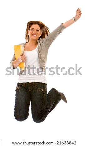 female student jumping of success isolated over a white background - stock photo