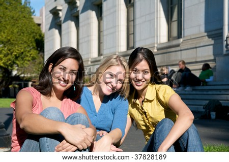 Female Student on campus - stock photo
