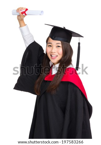 Female student show graduation diploma
