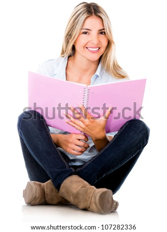 Female student smiling - isolated over a white background