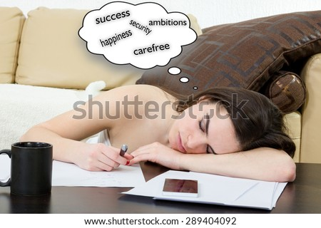 Female student tired and sleeping in her bed room over the notes while was studying. Young woman learning in living room, she is tired. Education and business concept, girl with pile of notes indoors - stock photo