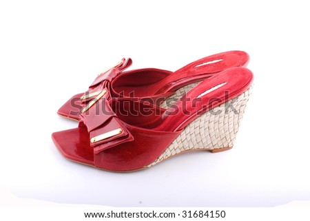Female summer footwear on a white background