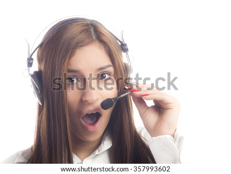 Female support operator with headset - stock photo