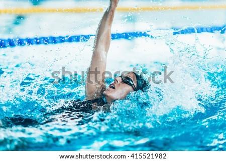 Female swimmer - stock photo