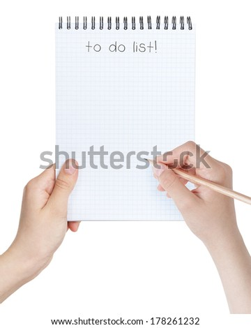 female teen girls holding notepad with to-do list, isolated on white