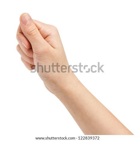 female teen hand hold something flat, isolated on white - stock photo