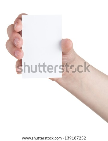 female teen hand holding blank paper card, isolated on white