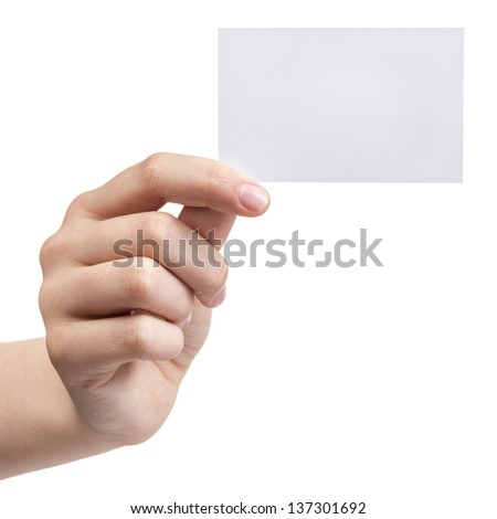female teen hand holding blank visiting card, isolated on white - stock photo