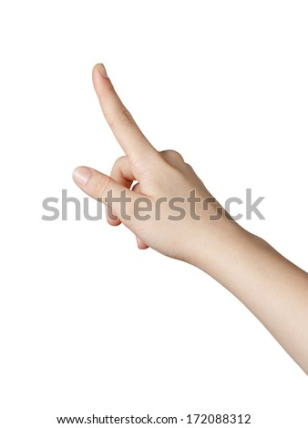 female teen hand pointing or clicking something, isolated on white - stock photo