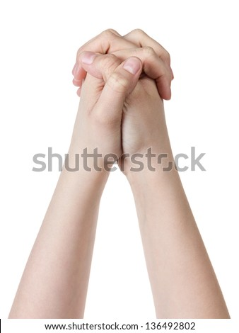 female teen hand praying, isolated on white background - stock photo