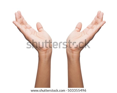 female teen hand showing protection symbol, isolated on white